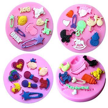 Infant Toys Trojan Baby Shower Bottle Stroller Cradle Silicone Mold Cake Decorator DIY Bakeware Tool Jelly Candy Mold
