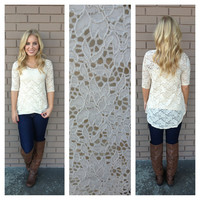 Ivory Lace 3/4 Sleeve Top