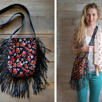 Double-sided fringe bag. Blossom fabric and black leather