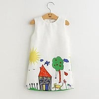 Spring Princess Dress Kids Clothes Graffiti Print Design for Baby Girls Clothes 3-8Y