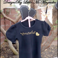 "Thanksgiving Onesuit, Onesuit ""Grateful  Heart""  Tshirt For Baby Girl, Girls, Toddler T shirt"