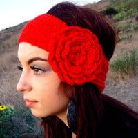 Hand Knitted Headband -  Ear Warmer - Head Warmer with Crochet Flower - Gift for Her - Mothers Day