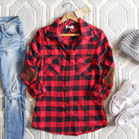 The Patches & Plaid Flannel in Red