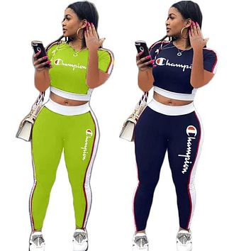 Champion stylish sexy ladies letter casual tummy sport two-piece