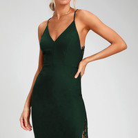 Only Want You Forest Green Lace Bodycon Midi Dress