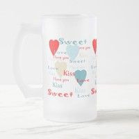 Frosted 16 oz Frosted Love Glass Mug