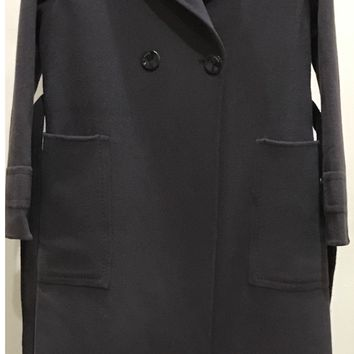 Two Sided Pure Cashmere & Wool Hand-Stitched One Button Straight Pocket with Belt Long Coat