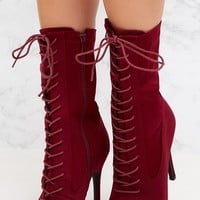 Burgundy Lycra Lace Up Ankle Boot