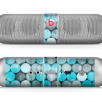 The Vintage Scratched Blue & Graytone Polka Skin for the Beats by Dre Pill Bluetooth Speaker