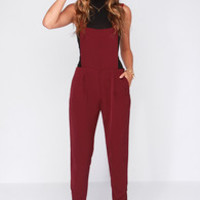 Say Your Piece Burgundy Overalls
