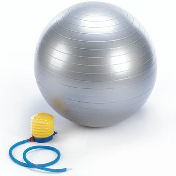 Silver Exercise Ball with Foot Pump