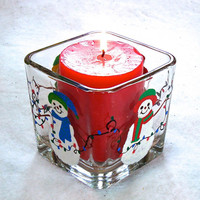 Snowmen and Lights Candle Holder