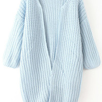 Blue Knit Long Sleeve Coat