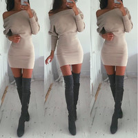 Women's Fashion Winter Hot Sale Batwing Sleeve One Piece Dress [4966036612]
