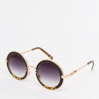 ASOS Round Sunglasses With Metal Sandwich And Copper Colour Double Nose Bridge