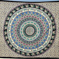 Hippie Elephant Tapestries Wall Hanging + 1 Free Pillow Cover Indian Mandala Tapestry Bedspread , Dorm Tapestry, Decorative Wall Hanging , Tapestries for Dorms , Bohemian Tapestry