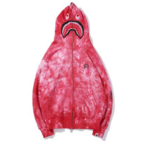 Bape Aape New fashion shark letter print camouflage hooded long sleeve sweater top Red
