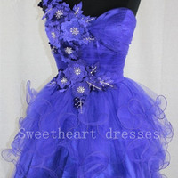 A-line One-shoulder Sleeveless Short/Mini Organza Prom Dresses from Lovely Dress