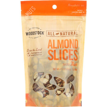 Woodstock Nuts - All Natural - Almonds - Slices - Thick - Raw - 7.5 oz - case of 8