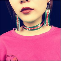 GUCCI Cool Girl Dance Style Sports Wind Manual Personality Collar Choker Earrings