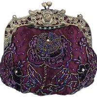 MG Collection Vintage Style Hand Beaded Evening Purse Bag, Purple, One Size
