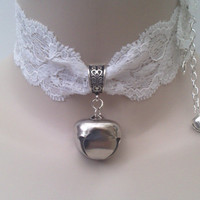 Huge JINGLE BELL (1 inch)  Drop Charm WHITE 40mm Wide Stretch Lace Cat Collar Choker - by