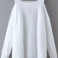White Off-Shoulder Long Sleeve Knit Sweater