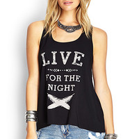 FOREVER 21 Knot-Back Graphic Tank Black/Taupe
