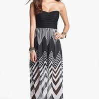 Trixxi Strapless Chiffon Maxi Dress (Juniors) (Online Only) | Nordstrom