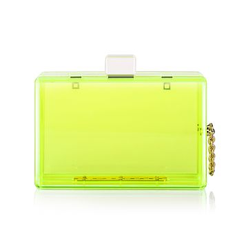 Neon Green Acrylic Lucite Box Clutch Bag