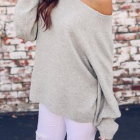 Grey Asymmetric Shoulder Round Neck Long Sleeve Casual Slouchy Pullover Sweater