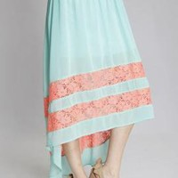 Charmed Life Lace Inset High Low Midi Skirt in Mint/Coral   Sincerely Sweet Boutique
