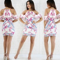 Fashion Flower Print Frills Strapless Short Sleeve Strap Bodycon Mini Dress