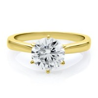 Forever Brilliant® 1 4/5 ct. tw. Moissanite Solitaire Ring in 14K Gold - Solitaire Rings - Rings - Jewelry - Helzberg Diamonds
