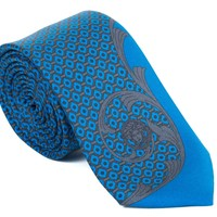 Gianni Versace Solid Blue Dragon Wave Silk Tie
