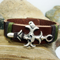 FREE SHIPPING - Men's Leather bracelet.Men Bracelet,Men leather Bracelet.Brown Leather Men's Bracelet,silver plated studs, sign of the cross