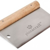"Pizzacraft 6"" x 3"" Hardwood Handled Pizza Dough Scraper and Cutter (Stainless Steel) - PC0207"