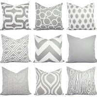Couch Pillow Covers - Two Grey Pillows - 20 x 20 Inch Decorative Throw Pillow Cover - Pillow Sham - Grey Pillow Case - Grey Throw Pillows