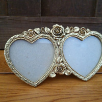 Vintage Gold Toned Metal Double Heart Standing Frame Roses