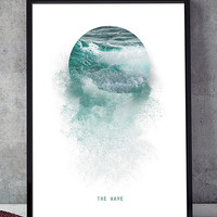 The wave art print, wave wall art, poster printable, wall art printable, sea art print,contemporary print, printable art, sea wall art