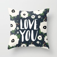 Love you floral - navy typography Throw Pillow by Allyson Johnson | Society6
