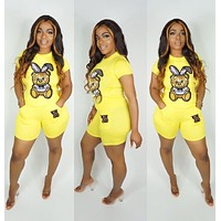 MOSCHINO Newest Hot Sale Women Short Sleeve Top Shorts Sport Two-Piece Yellow
