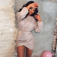 New Sexy Women Summer Mini Dress Long Sleeve Sequin Evening Party Dress Bodycon High Waist Mini Dress