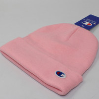 Champion autumn and winter pure color tide brand knit embroidery small standard couple wool cap Pink
