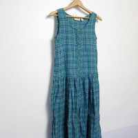 80s plaid dress. long cotton dress. button down dress