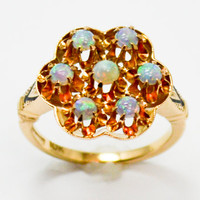 Mid Century Victorian Revival Opal Cluster Ring