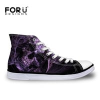 Casual Lace-Up High Top Canvas Shoes Cool Punk Skull Shoes For Man Male Casual High-Top Flat Shoes Breathable