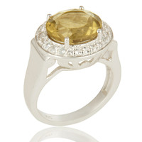 925 Sterling Silver Citrine Gemstone And White Topaz Cocktail Ring