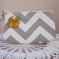 Bridal Wedding Bridesmaid Wristlet Zipper Gadget Pouch Purse Gray and White Chevron with Flower Accent