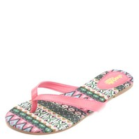 TRIBAL PRINT INSOLE THONG SANDALS